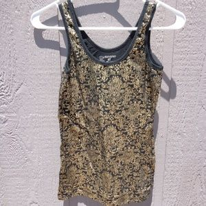 NO BOUNDARIES SMALL WOMENS TANK TOP GOLD & BLACK